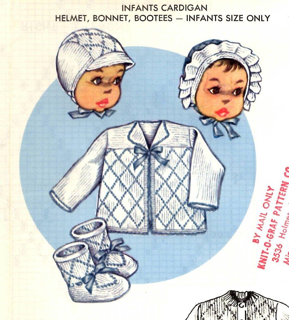 1950s Knitting PATTERN Knit O Graf 221 Baby set in Diamond pattern ...