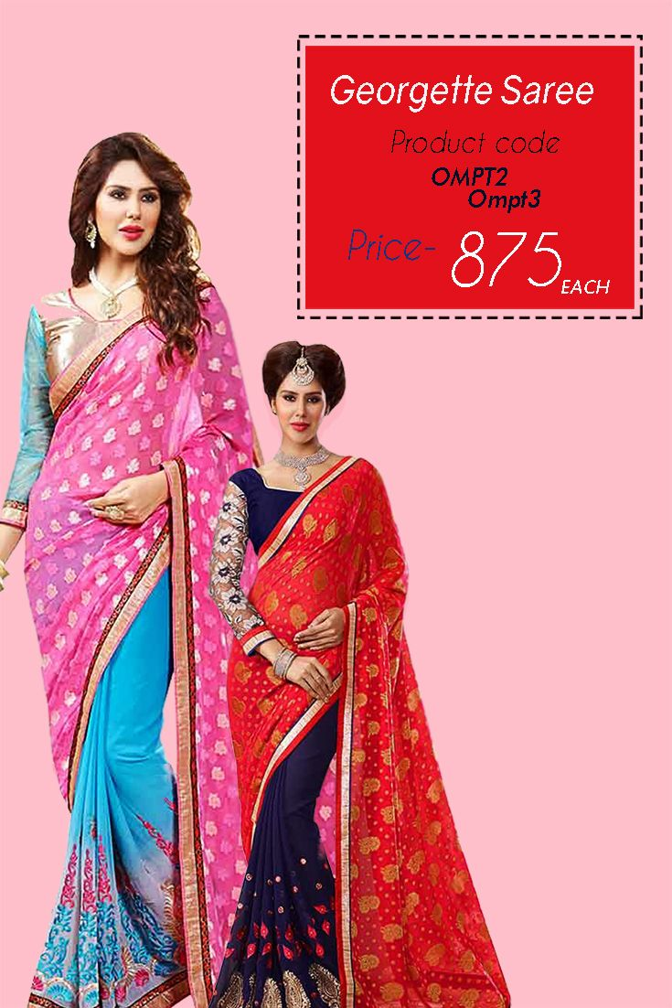 Designer #EmbroideredGeorgette #Saree This gorgeous and beautiful #designer georgette #embroideredsaree is a must have for this #season at an unbelievable #price.