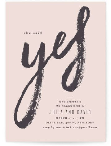 Bold Yes Engagement Party Invitations #engagementparty