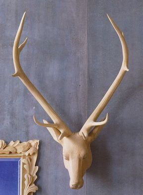 Wall Decor Roost Carved Wood Deer Heads 649