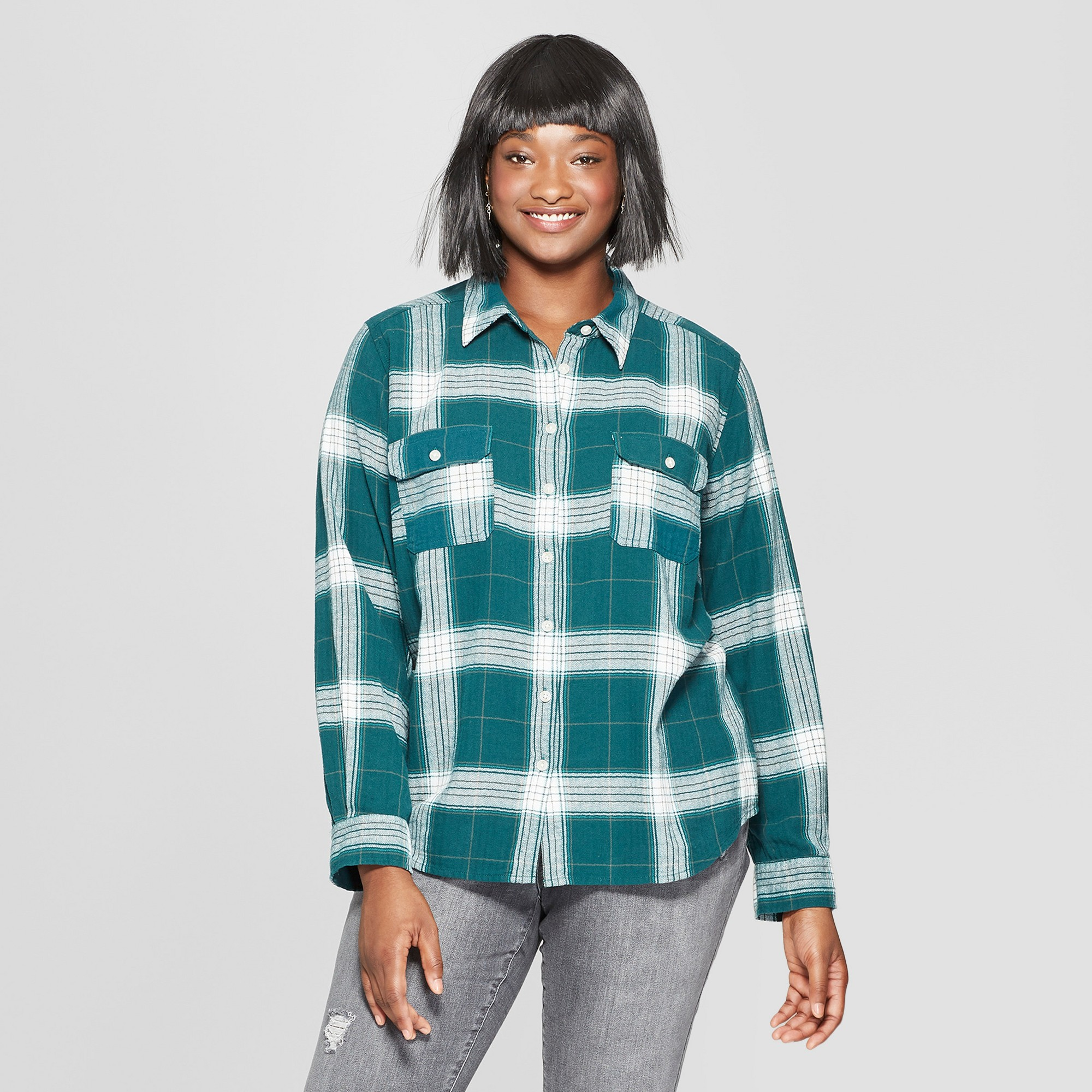 90691591 Women's Plus Size Plaid Long Sleeve Flannel Shirt - Universal Thread Green  4X