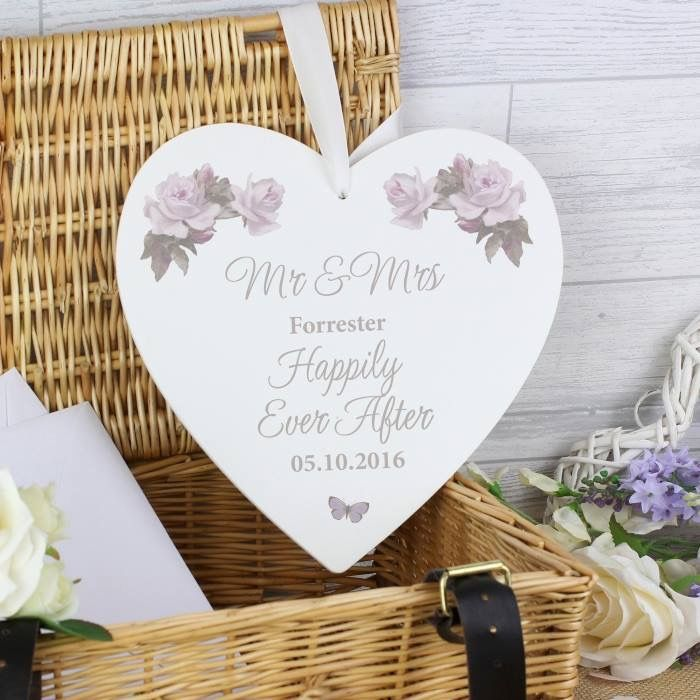 Personalised Wooden Heart Perfect Wedding Present Or Home Decor