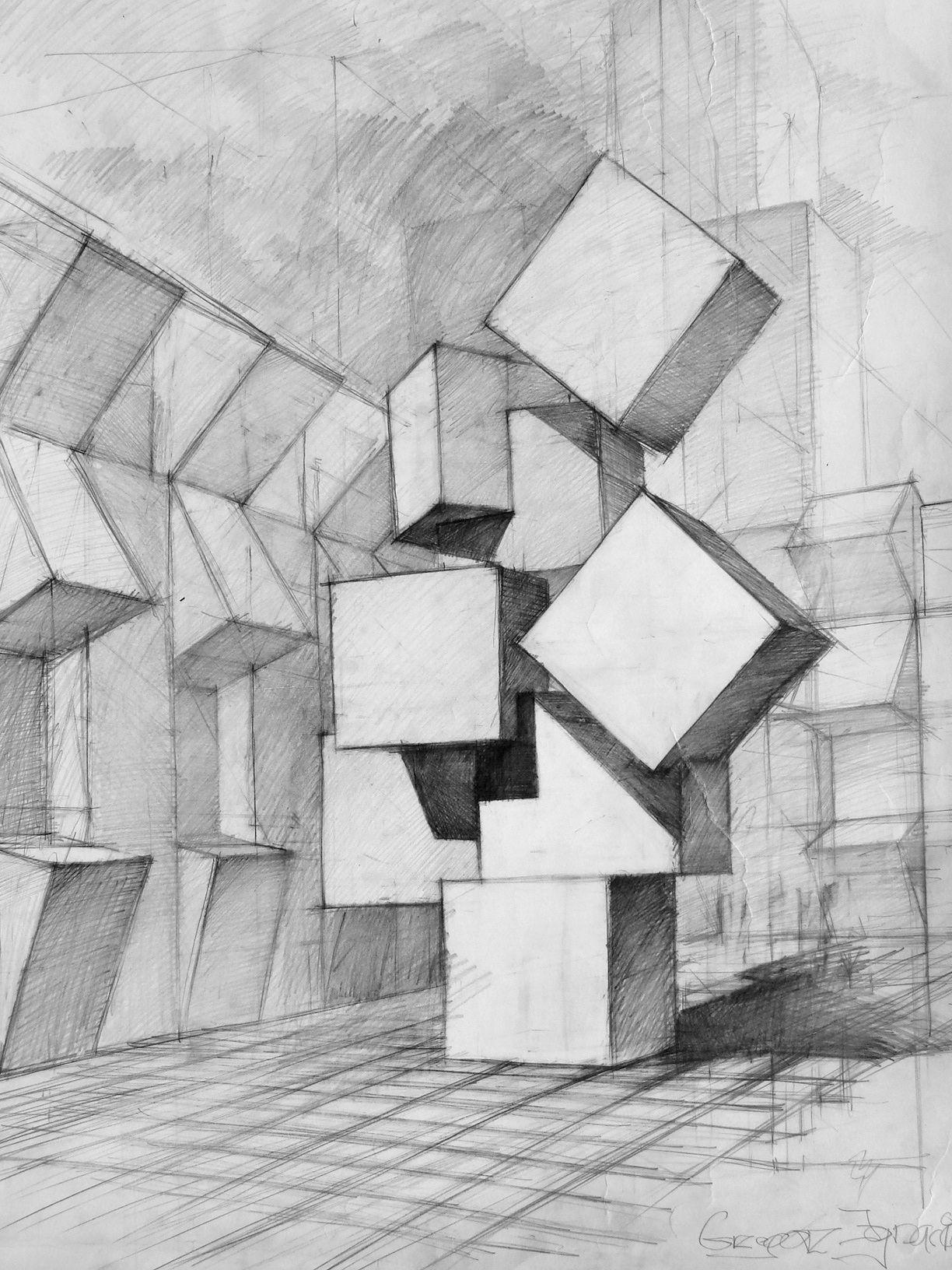 Pingl par lovegart sur perspective pinterest dessins main dessin et peinture dessin - Arts plastiques chambre en perspective ...