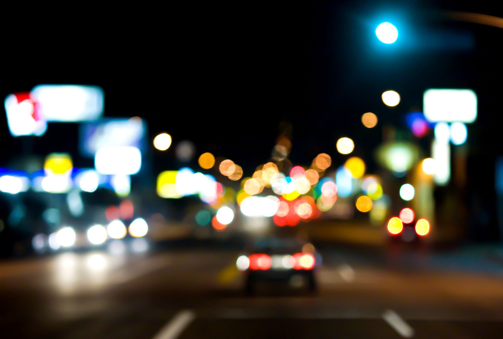 Wallpaper City, Street, Road, Night, Bokeh, Car Lights