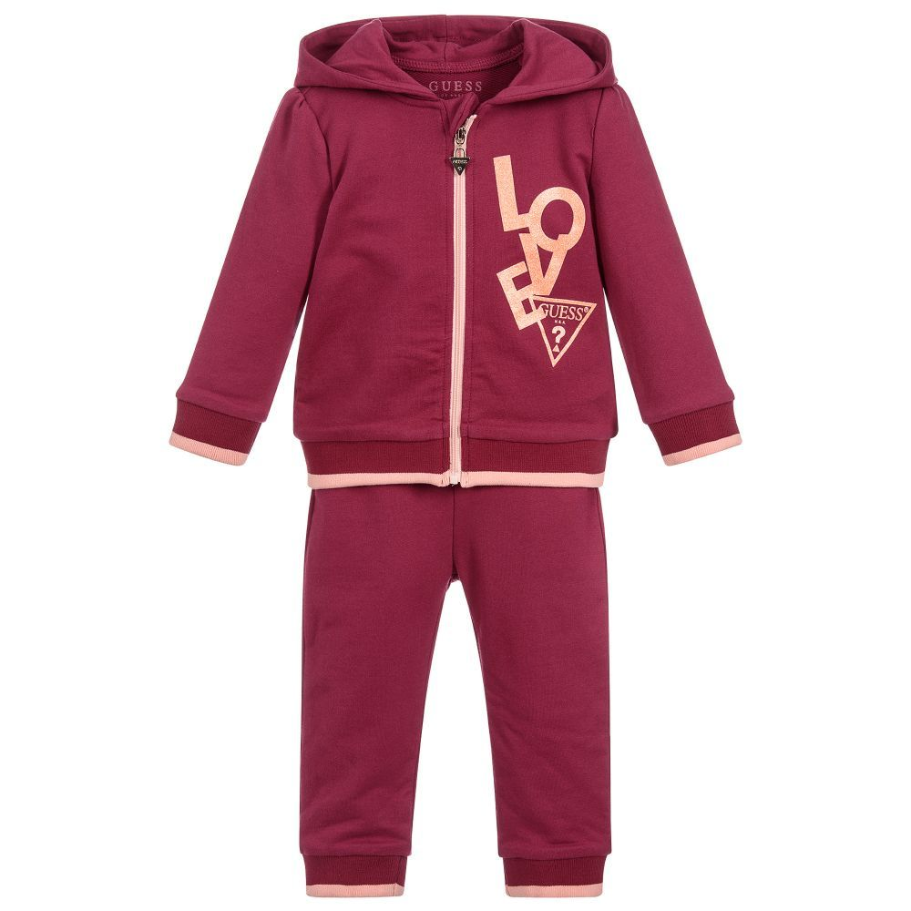 3d9f199af903 Baby Girls Cotton Tracksuit for Girl by Guess. Discover more beautiful  designer Tracksuits for kids online