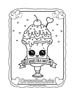Coloring Page Valentine Ice Cream Sundae Aarushi In 2019 Cute