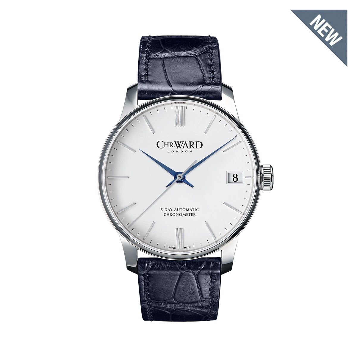 C9 5 Day Automatic Watch, White Dial on Blue Strap - Chr. Ward
