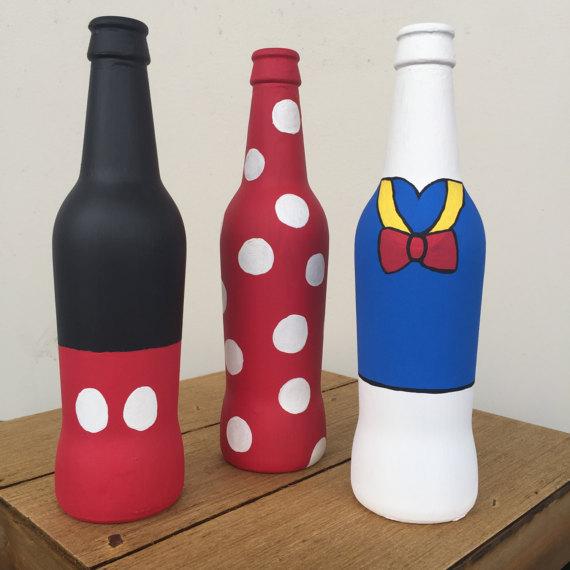 Mickey And Minnie Beer Bottle Set Etsy In 2020 Beer Bottle Crafts Wine Bottle Diy Crafts Painted Beer Bottles