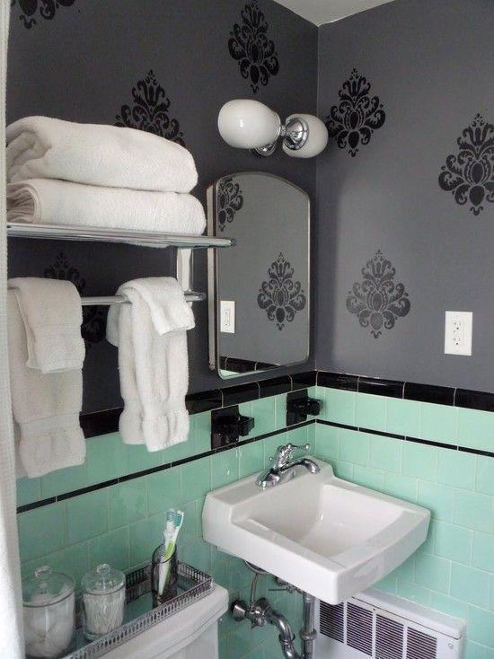 Retro Pink Bathroom Decor Ideas Bathroom Pink Retro Bathroom - Dark green bath towels for small bathroom ideas