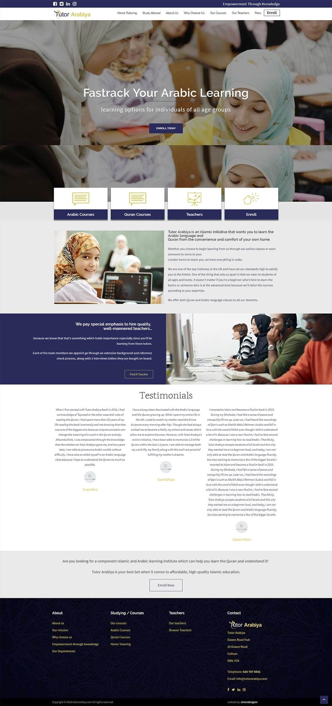 Bespoke Website Design And Development For Tutor Arabiya Arabic And Quran Tutoring Compa Search Engine Optimization Seo Website Design Search Engine Marketing