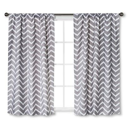 Gray Chevron Curtain Panels