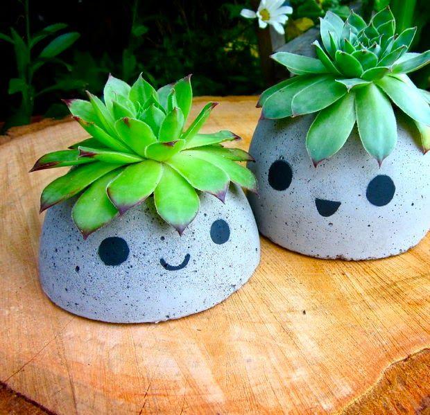 DIY} Des pots béton au look Kawaï ! Plante Pinterest Beton