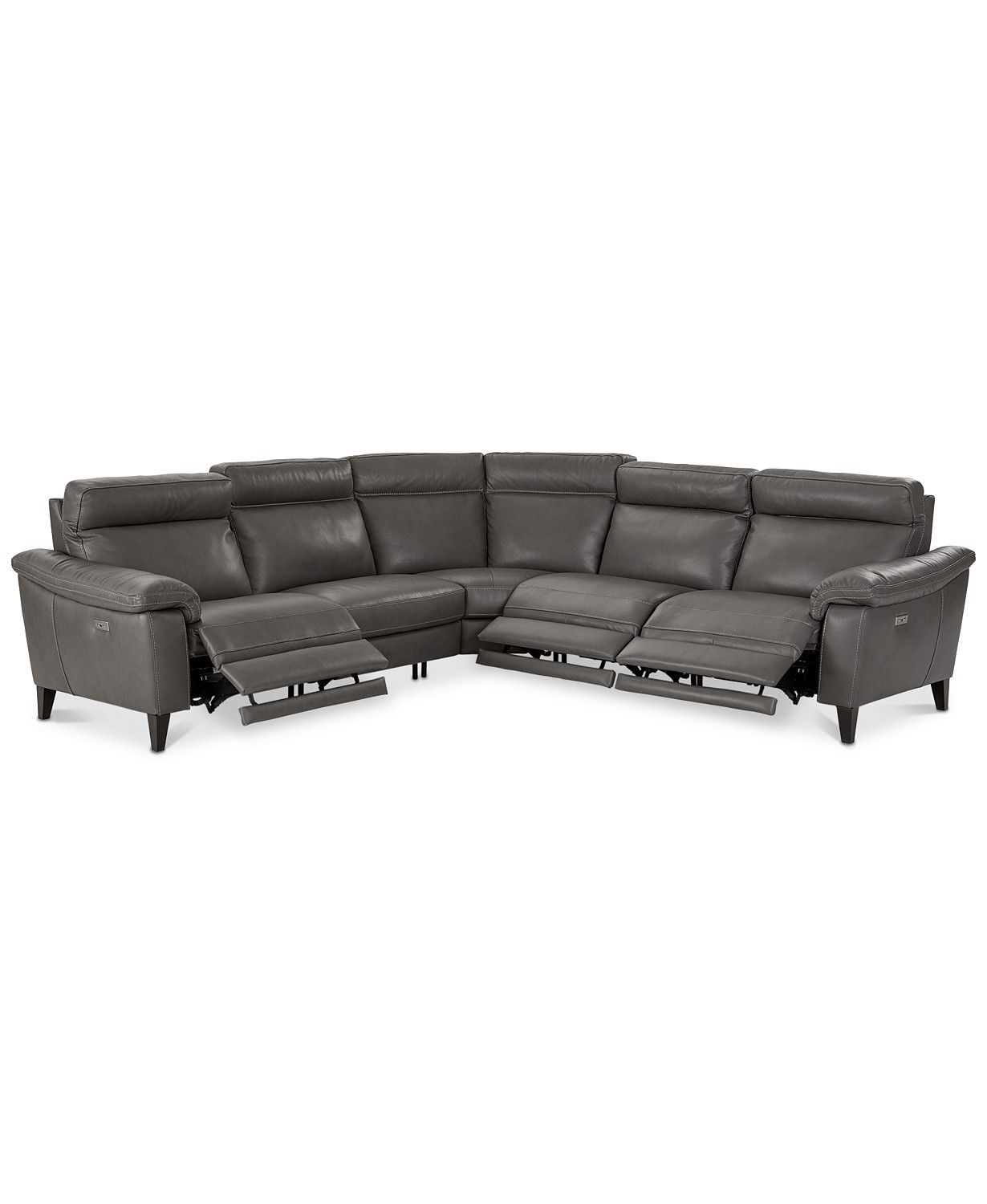 Closeout Pirello 5 Pc L Shaped Leather Sectional Sofa With 3 Recliners Headrests And Usb Port Created For Macy S Macys