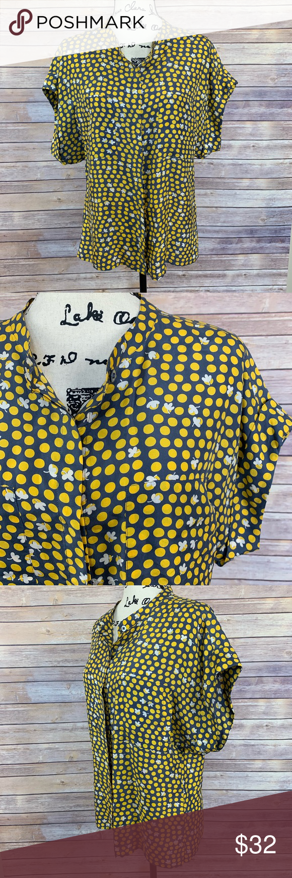 e5c459422392a8 CAbi # 183 Clover Silk Blouse | L EUC silk shirt button front. Grey/gray  with yellow polka dots and white clovers. Tops