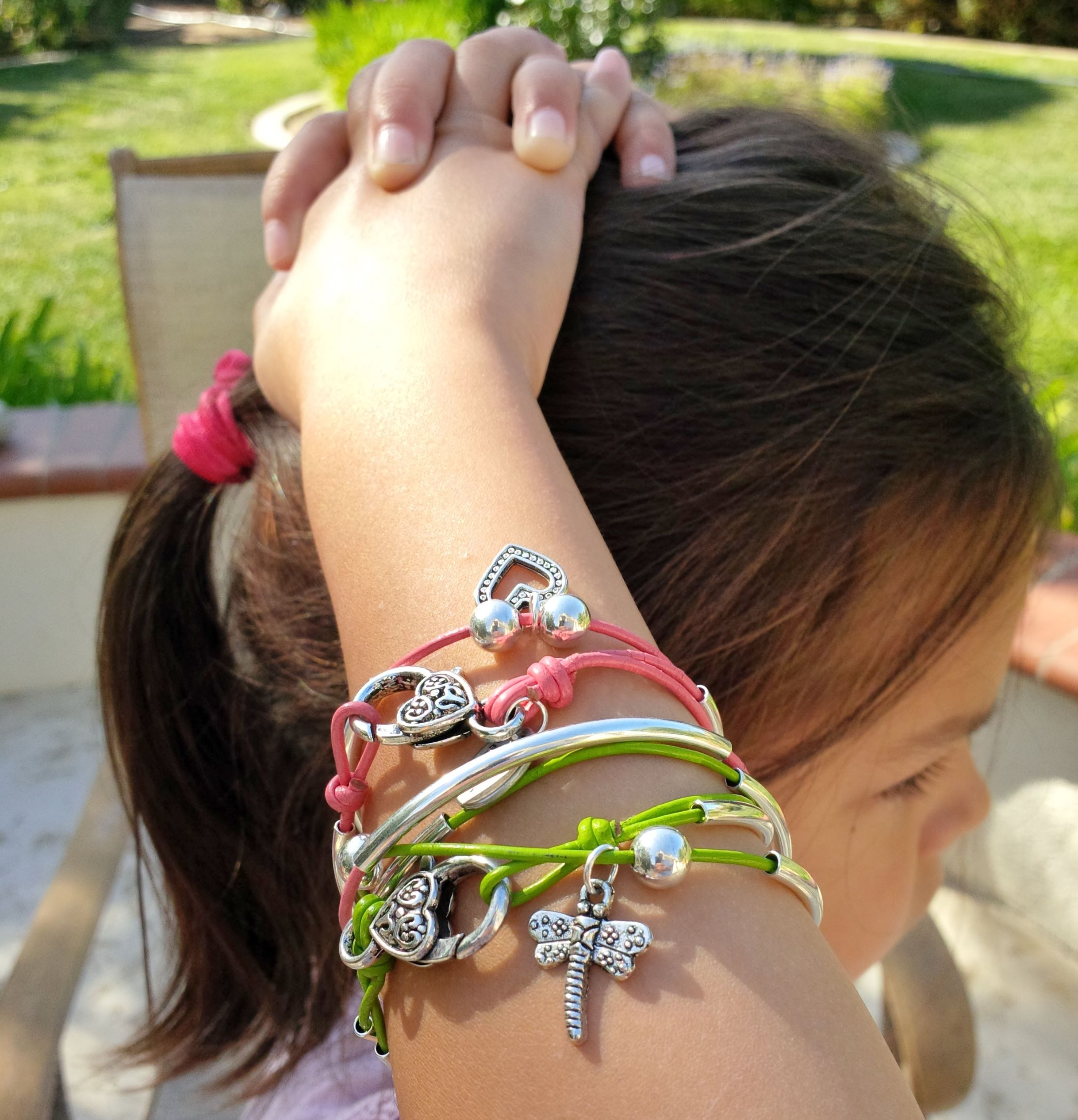 dangle cuban miami bangle and bracelets stacked with bangles stack stackable traditional charms santayana crest charm jewelry