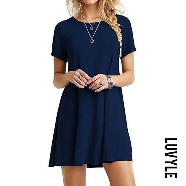 Luvyle - Luvyle A Line Round Neck Plain Casual Dresses - AdoreWe.com ...