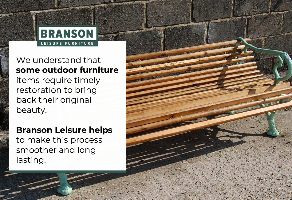 We understand that some outdoor furniture items require timely restoration to bring back their original beauty. Branson Leisure helps to make this process smoother and long lasting.  #OutdoorFurniture #FurnitureRestoration #FurnitureServices #FurnitureInstallation