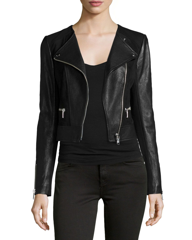 Iridessa Asymmetrical-Zip Leather Jacket, Size: SMALL, Black ...