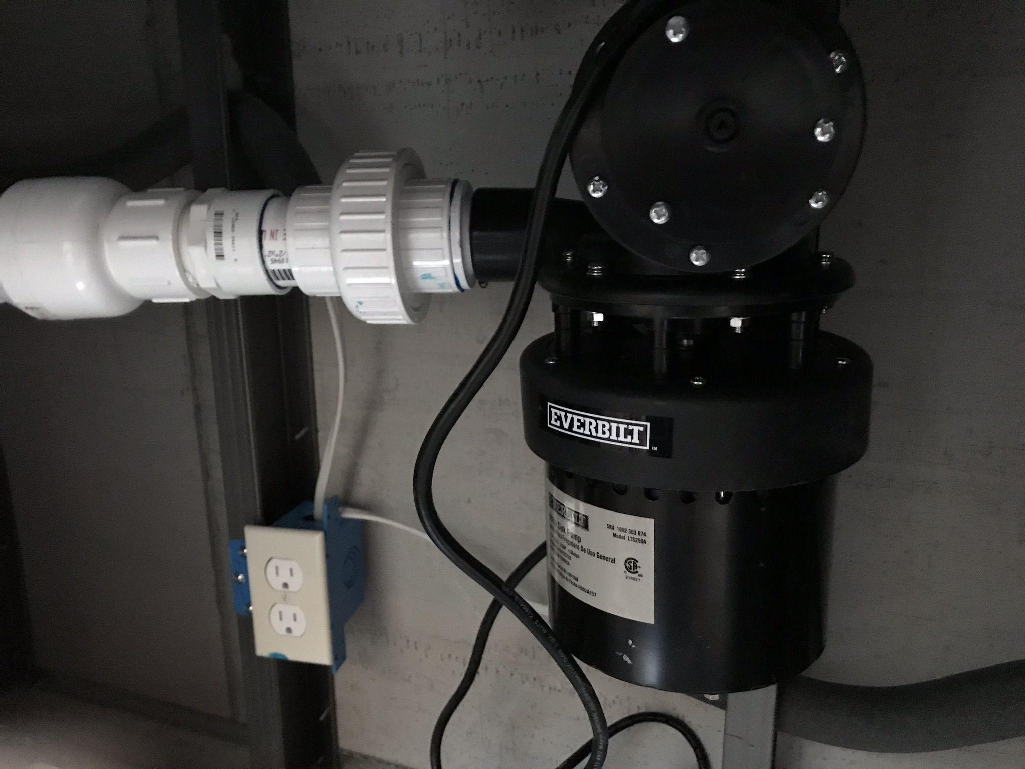 Everbilt sink pump in place it has an internal switch