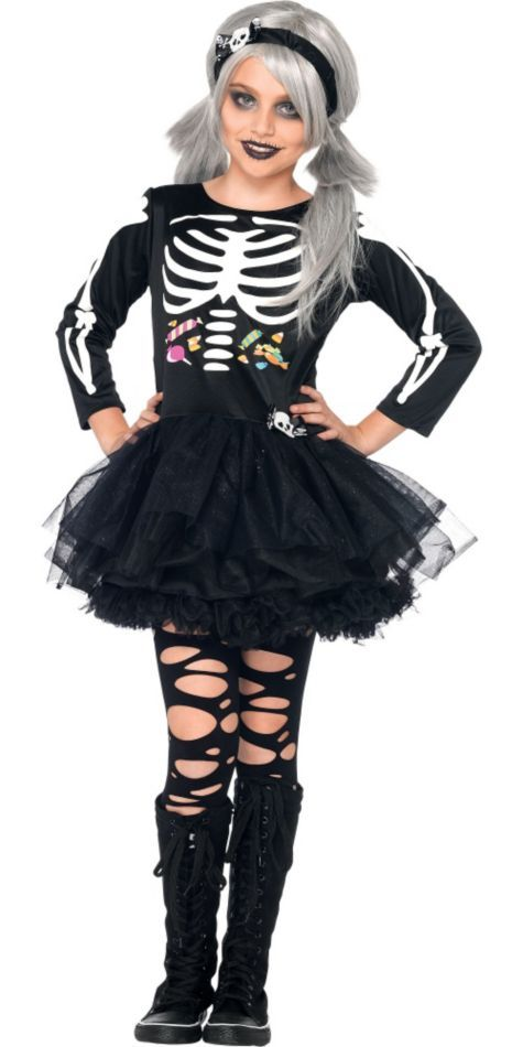 Girls Scary Skeleton Costume - Party City | Halloween ...