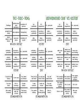 Advanced ser vs estar tic tac toe partner game also best spanish lesson activity ideas images rh pinterest