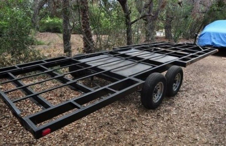 The trailer was originally a Baja Toy Hauler  but the top removed and left this beautiful frame perfect for building tiny house WANTED Used 40 Trailer Frame Tiny House Post ideas