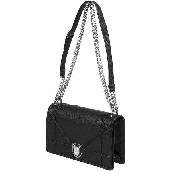 718302ccd503 Dior Diorama Bag Black Grained Calfskin ( 3