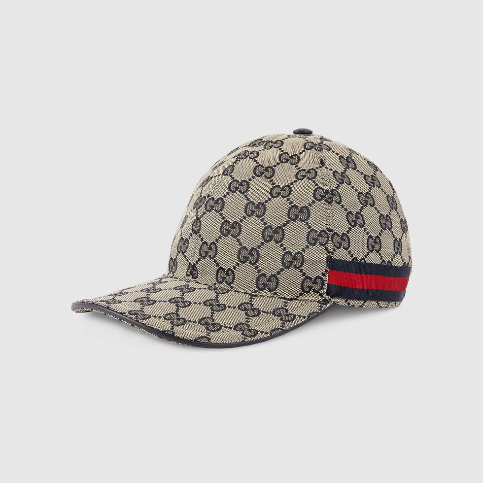 8e819254c5b Gucci GG Beige Blue canvas baseball hat w Blue Red Green Web -  295.00