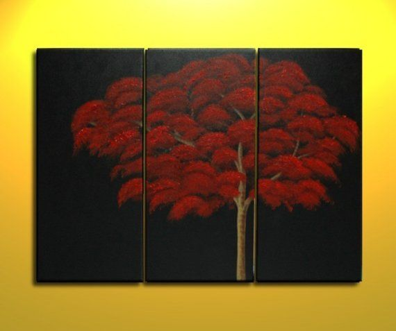 Red Fall Autumn Tree Painting Abstract Art over by NathalieVan