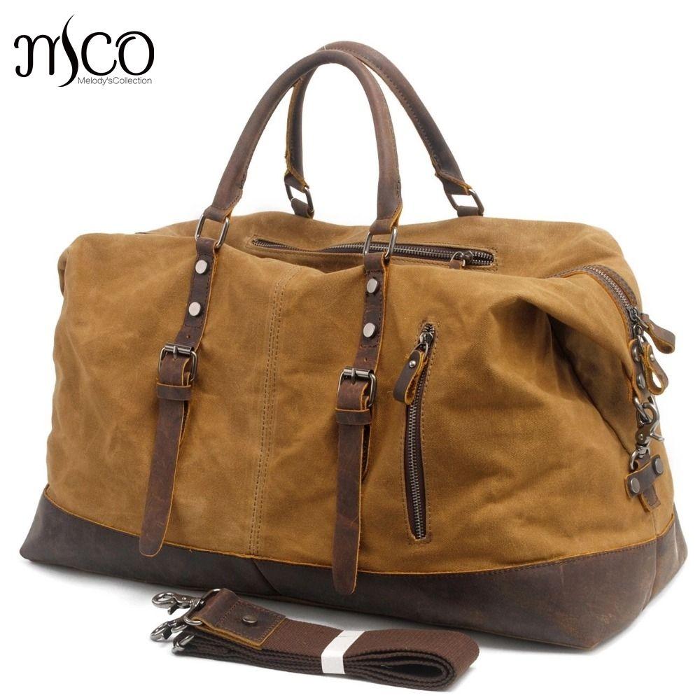 Waterproof Duffel Bag Men Canvas Carry On Weekend Bags Vintage Military Shoulder Handbag Leather Travel Tote Large Overnight