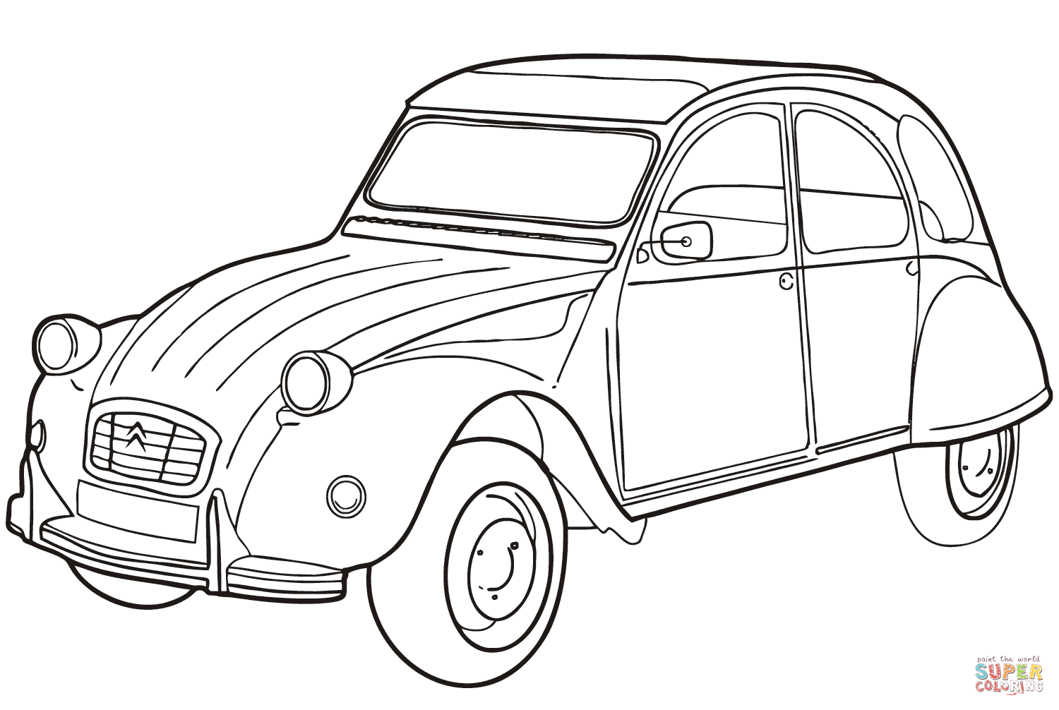 Citron 2CV coloring web page Classes Citron Free coloring pages to print | Cars  coloring pages, Coloring pages, Cute cars