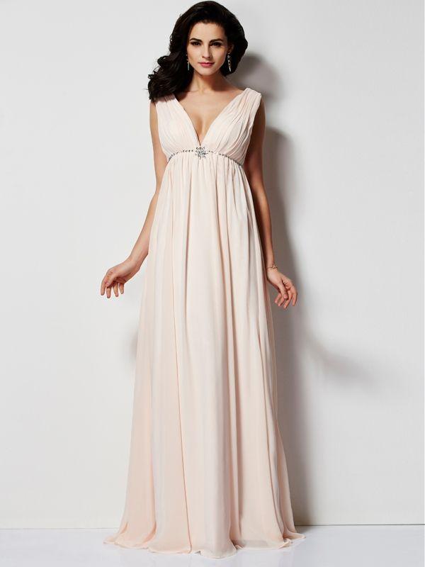 353f52934779 2019 的 2019 A-Line V-neck Chiffon Pearl Pink Long Prom Dresses ...