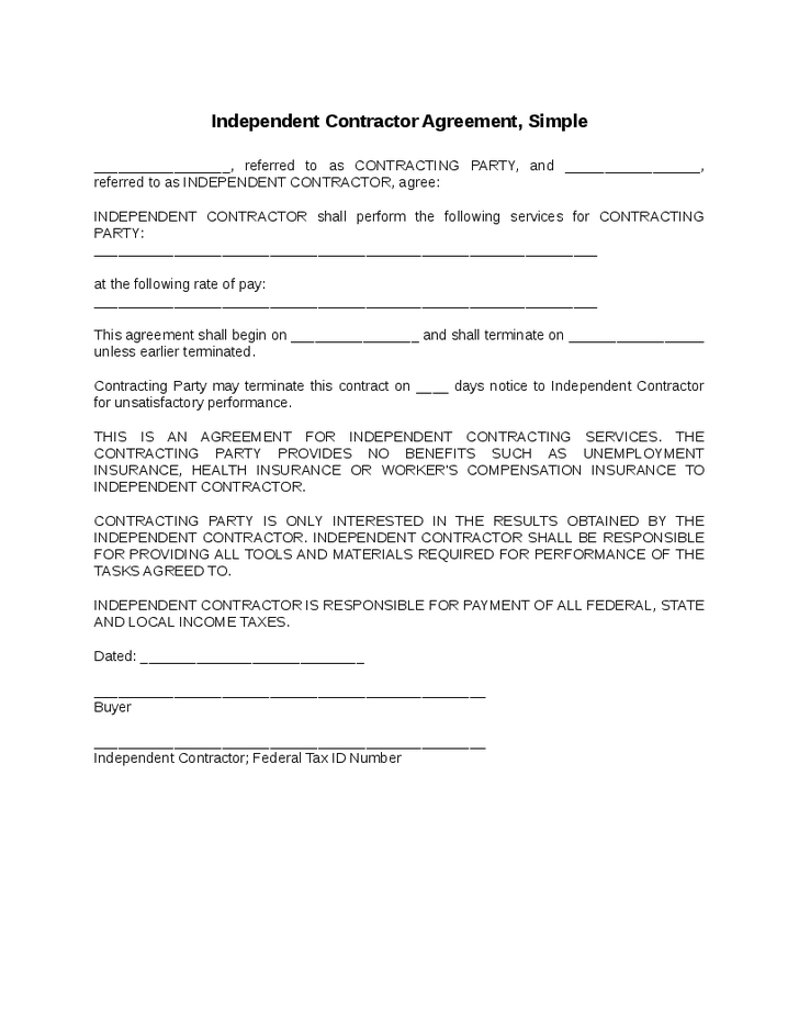 Independent Contractor Agreement Simple Contract Template