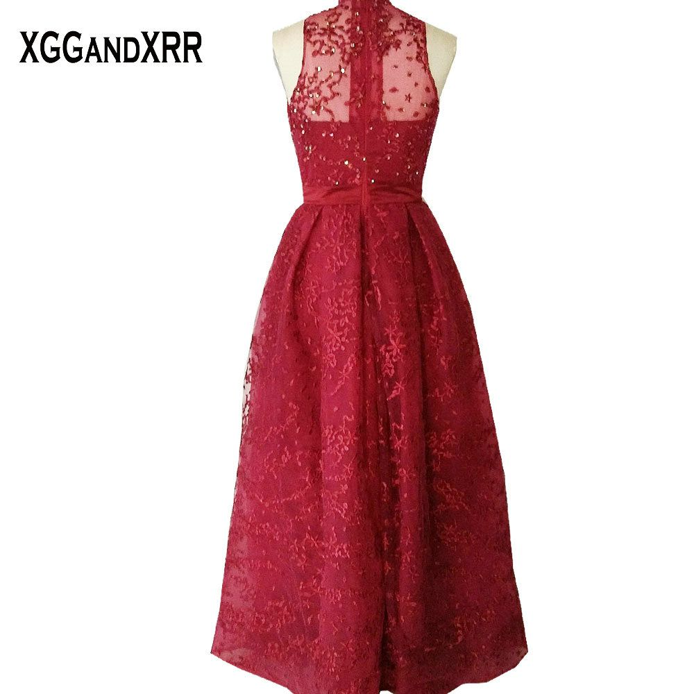 High neck lace a line prom dresses appliques beaded prom gowns