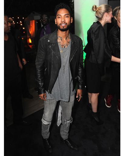 cfda505a102ab GQ.com  The Easy Leather Jacket Miguel wears a beat up leather jacket the  way most of us wear a hoodie