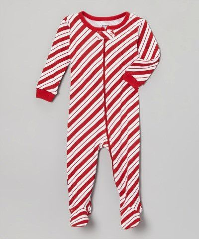 Red Stripe Candy Cane Footie Pajamas Growing Up Girls Attire Childrens Clothes Kids Fashion