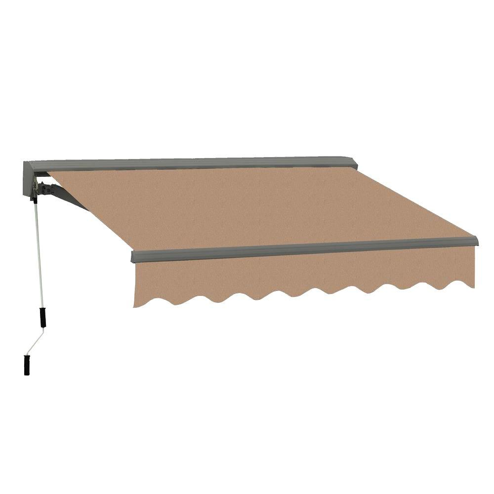 Advaning 10 Ft Classic C Series Semi Cassette Manual Retractable Patio Awning 98 In Projection In Canvas Umber Ma1008 A208h The Home Depot Wood Front Doors Patio Awning Sliding Patio Doors