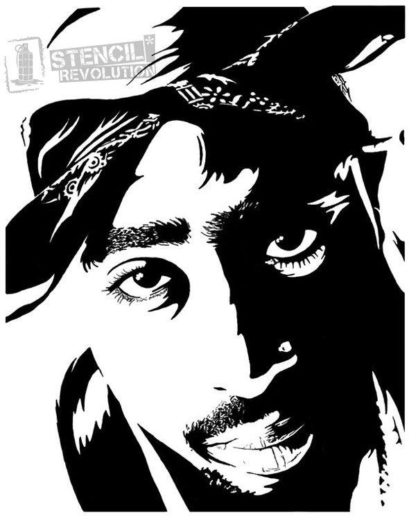 Printable Stencil Silhouette Tupac