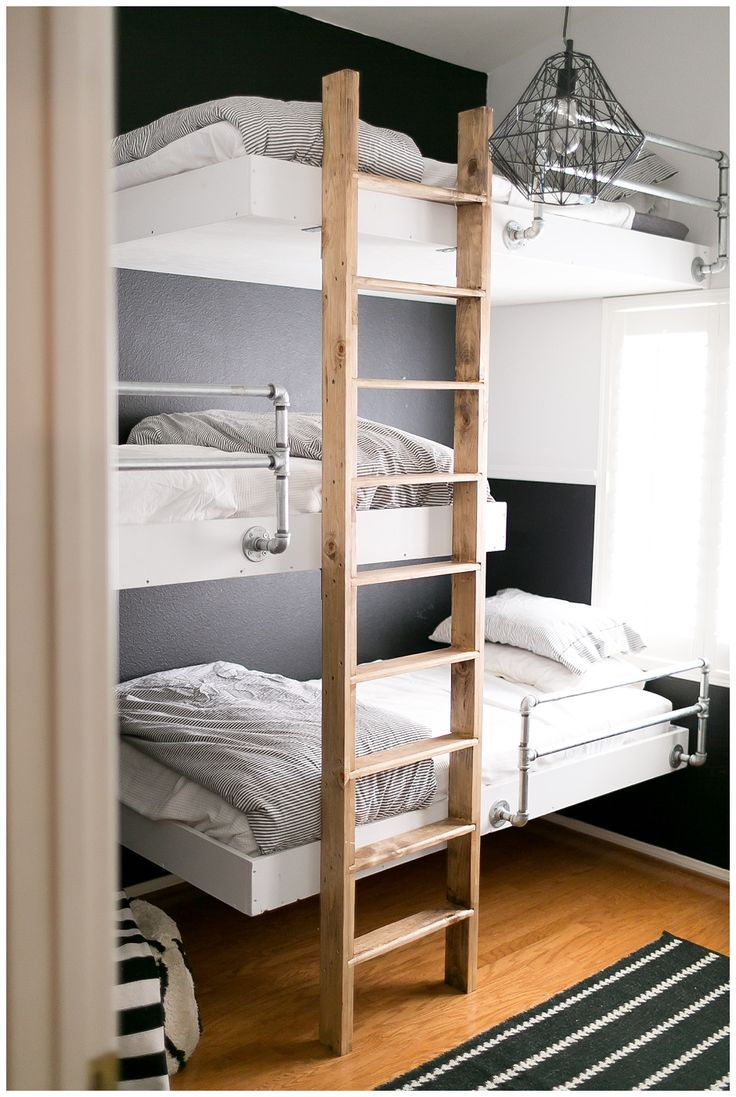 Built In Industrial Clean Lines Floating Bunk Beds Reminds Me Of My Brother S Bed When We Were Teens Hung Bunk Bed Rooms Bunk Beds Bunk Beds For Boys Room