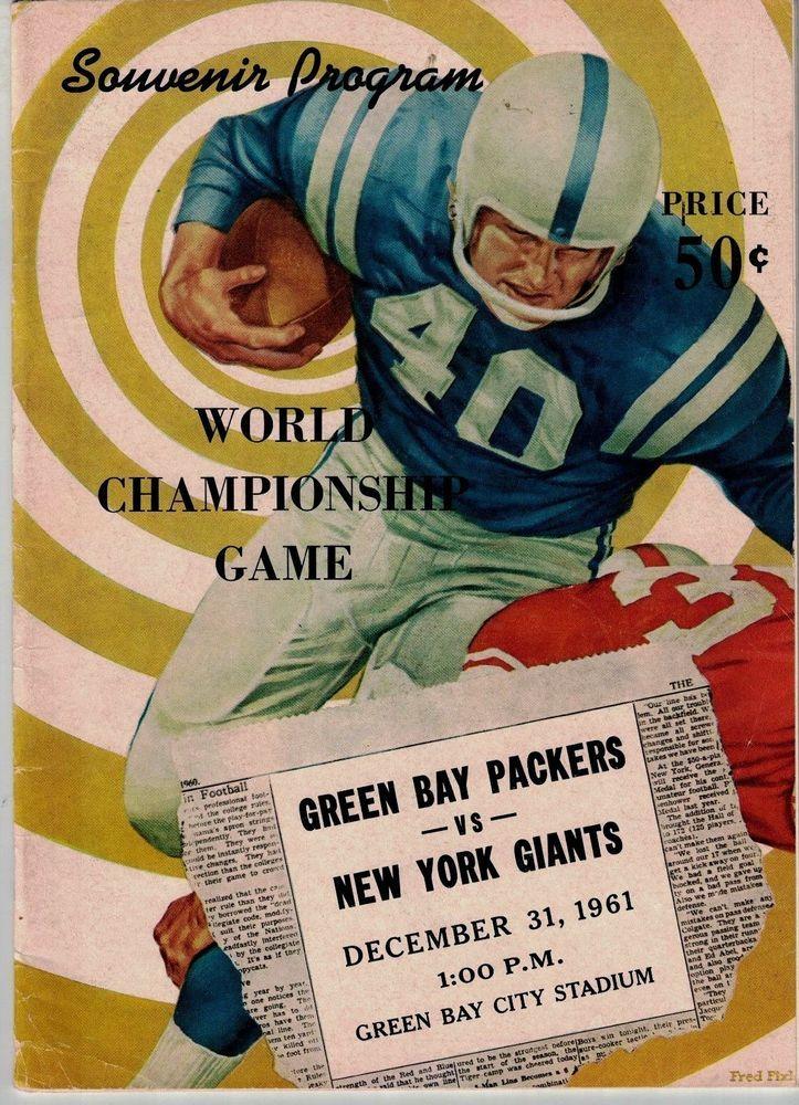 1961 green bay packers nfl championship program ex