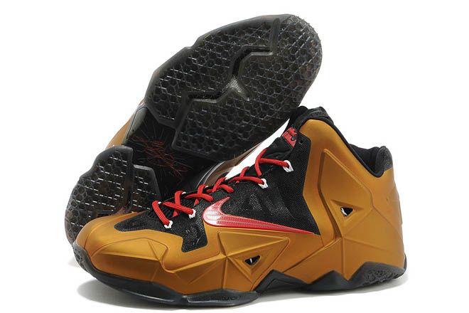 NBA Nike LeBron James 11 Sports Trainers in Color Metallic Gold with Black Red Online Sale