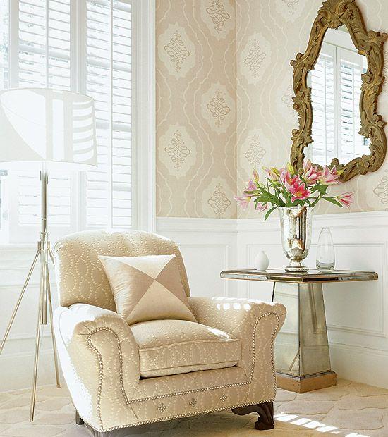 Beige Damask Wallpaper Ideas With Classic Mirror Design And Modern - goldene tapete modern design