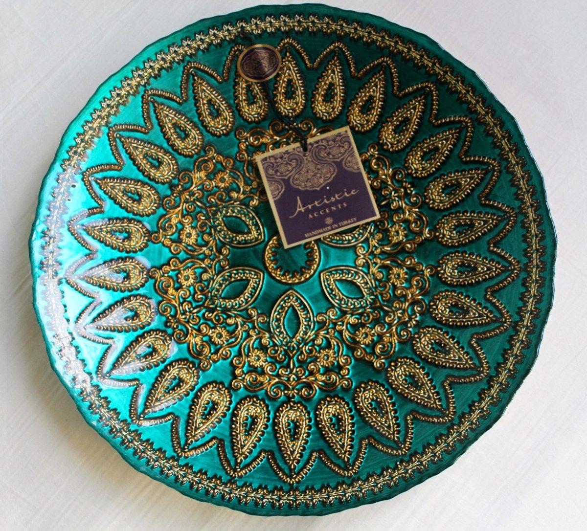 stunning handmade artistic accents turkish glass bowl in turquoise  - stunning handmade artistic accents turkish glass bowl in turquoise and goldethnic patterns