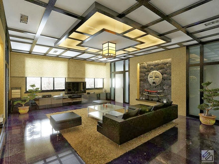 10 false ceiling designs in japanese style for living rooms rh pinterest com
