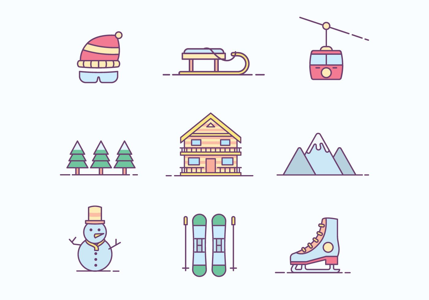 Free Winter Ski Resort Icon Bullet Journal Layout Skiing Doodle Pages