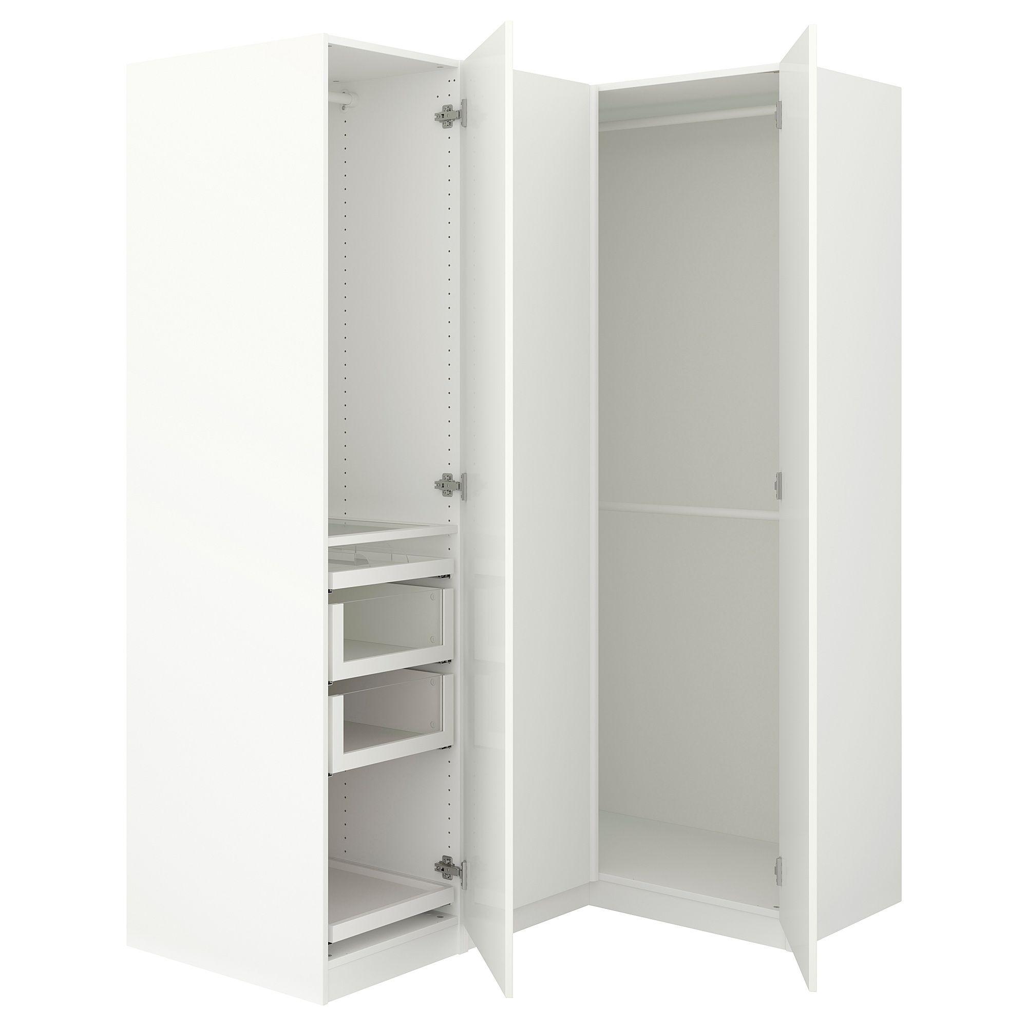 PAX Corner wardrobe, white, Fardal