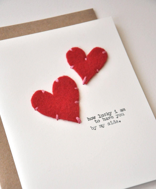 Handmade Valentines Day Card Anniversary Card Stitched – Valentine Anniversary Cards