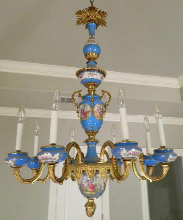 NET: Antique Sevres porcelain chandelier - Found On EstateSales.NET: Antique Sevres Porcelain Chandelier