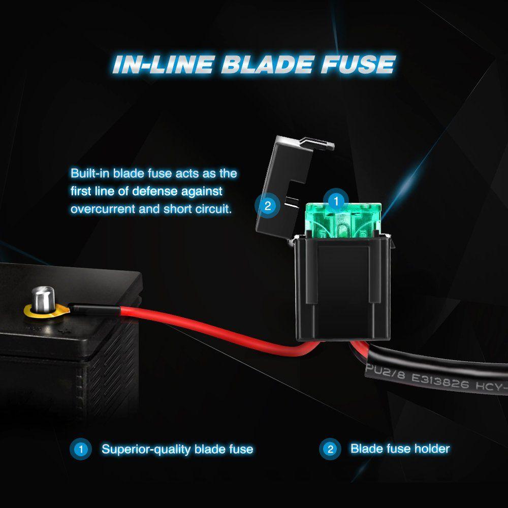 Nilight 10012W LED Bar Wiring Harness Kit Rear Lights 12V 5Pin Rocker Laser On Off Waterproof Switch Power Relay Blade Fuse-2 Lead,2 Years Warranty