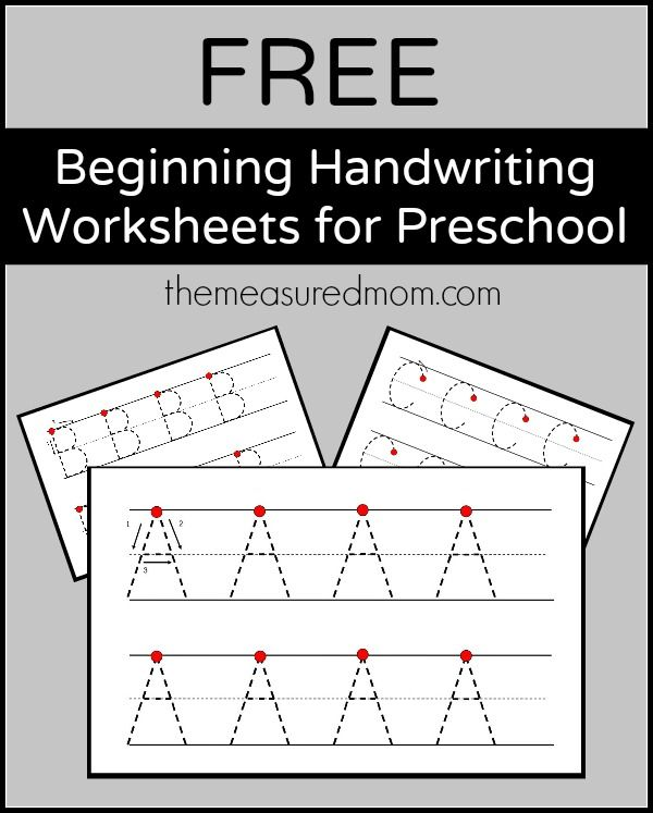Free Beginning Handwriting Worksheets For Preschool